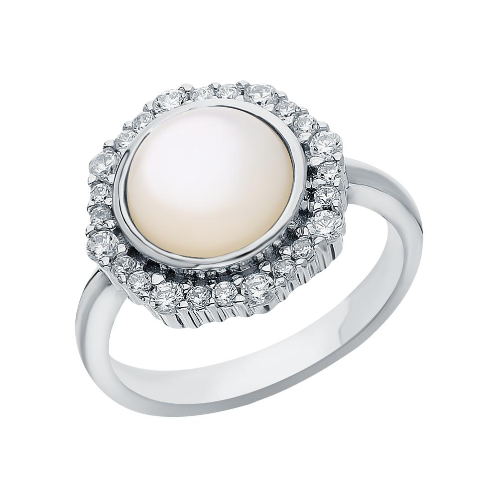 Фото «Серебряное кольцо с фианитами и перламутром»