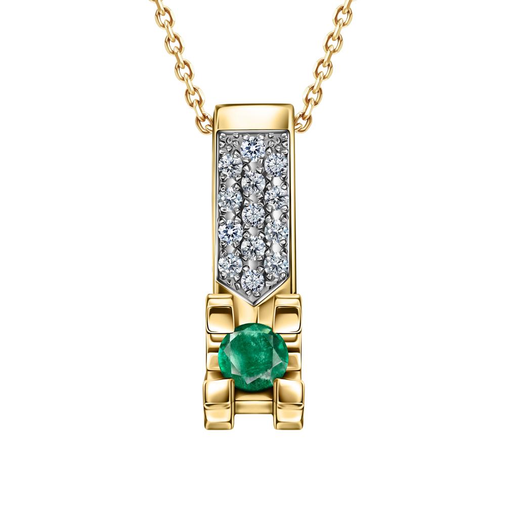 Фото «Золотая подвеска с изумрудом и бриллиантами»