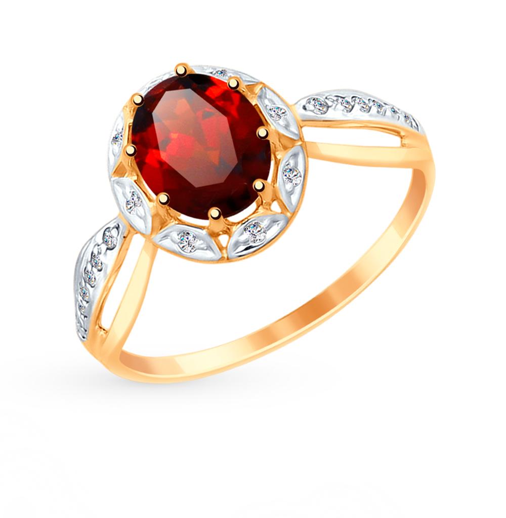 Фото «Золотое кольцо с фианитами и гранатом SOKOLOV 715033*»