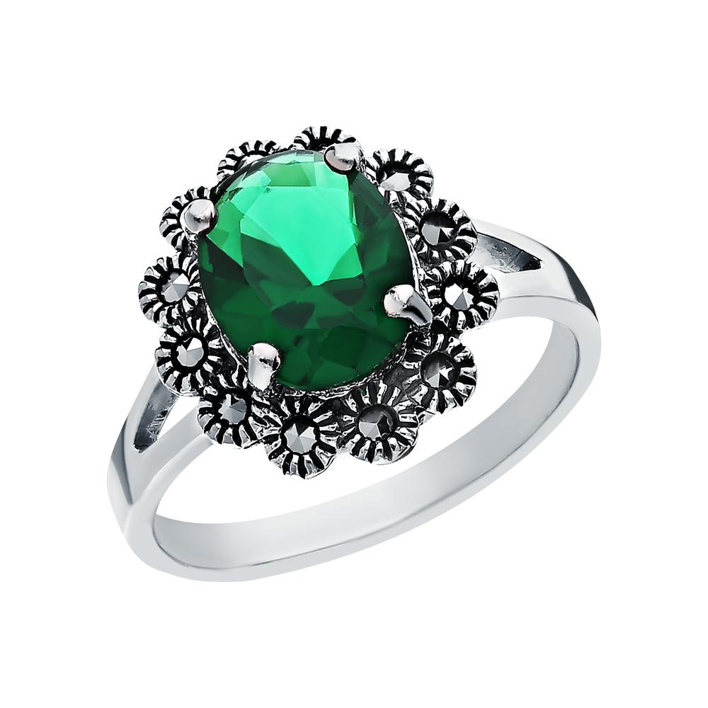 Фото «Серебряное кольцо с марказитами и кубическими циркониями»