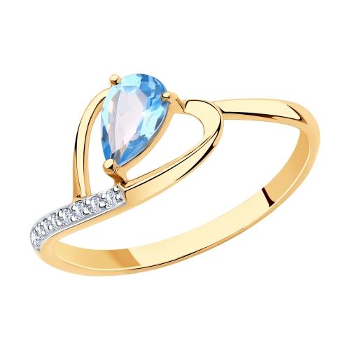 Фото «Золотое кольцо с топазами и фианитами SOKOLOV 715934*»
