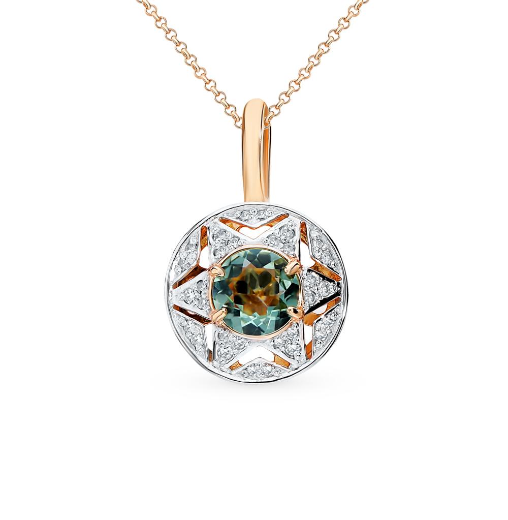 золотая подвеска с празиолитами и бриллиантами