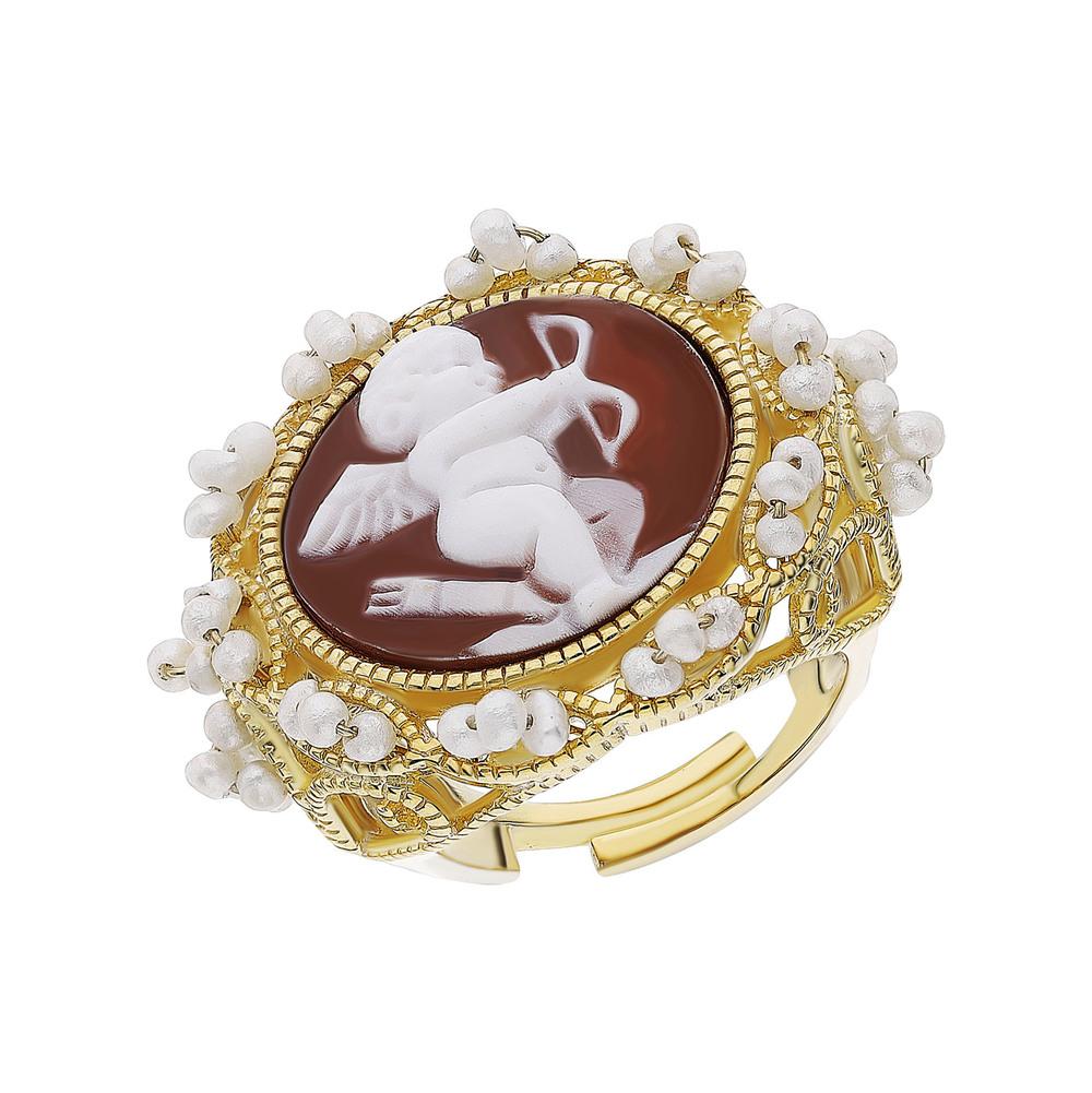 Серебряное кольцо с жемчугом и камеями в Екатеринбурге