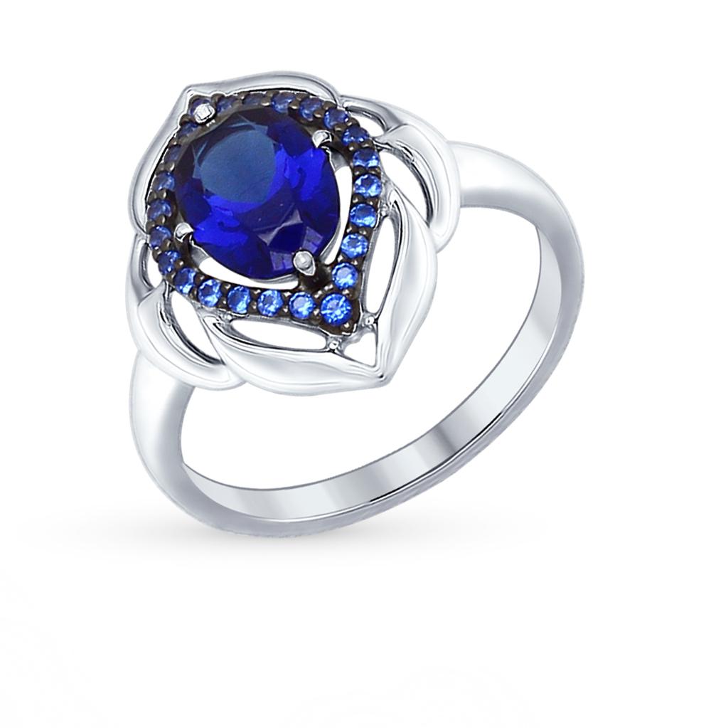 Серебряное кольцо с корундом и фианитами SOKOLOV 88010035 в Санкт-Петербурге