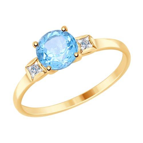 Фото «Золотое кольцо с топазами и фианитами SOKOLOV 714925*»