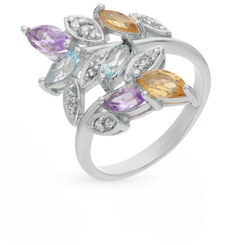 Фото «серебряное кольцо с аметистом, цитринами, топазами и фианитами»