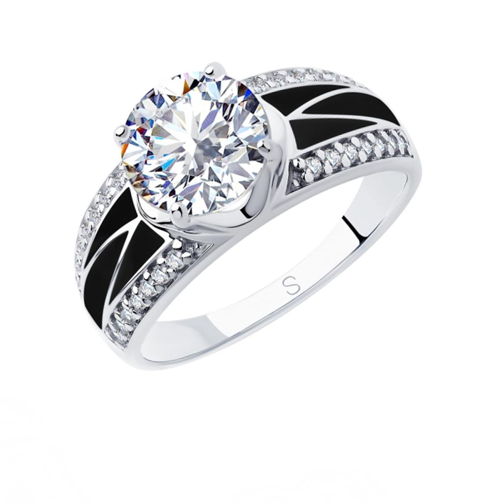 Фото «Серебряное кольцо с фианитами и эмалью SOKOLOV 94012929»