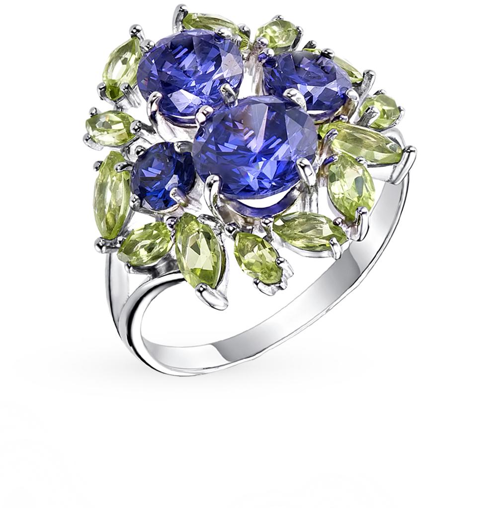 серебряное кольцо с танзанитом и хризолитом