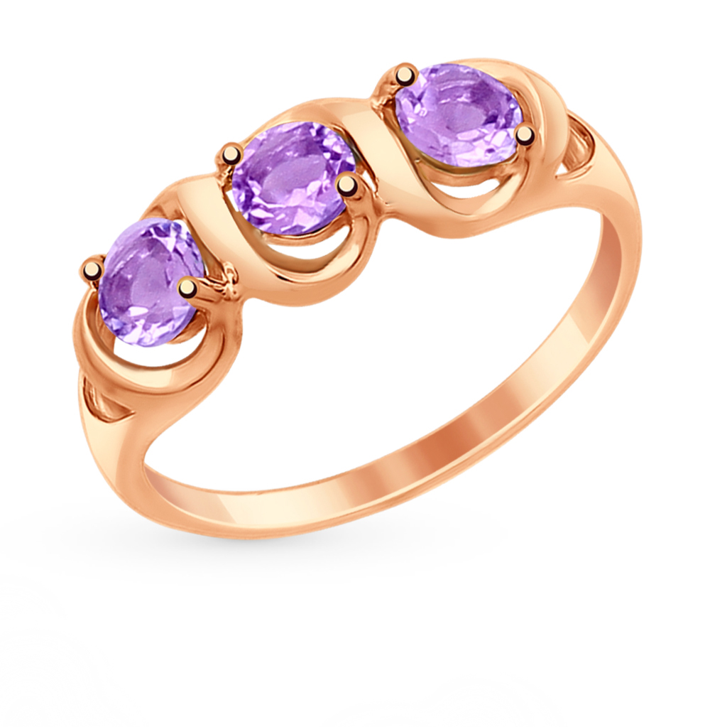 Фото «Золотое кольцо с аметистом SOKOLOV 714864*»