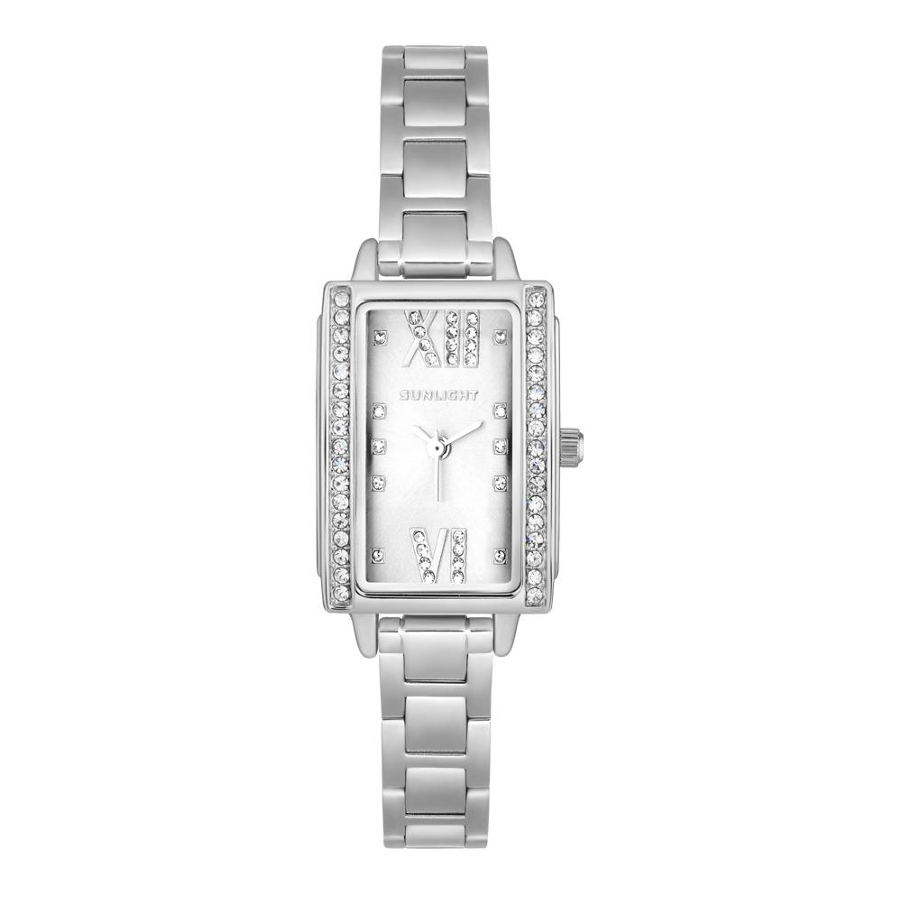 Прямоугольные женские часы с кристаллами на металлическом браслете