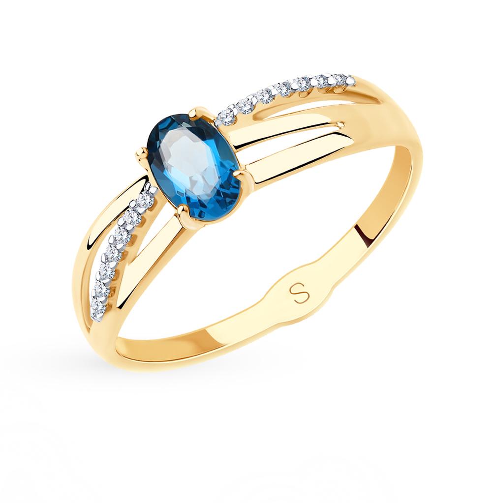 Фото «Золотое кольцо с топазами и фианитами SOKOLOV 715609*»