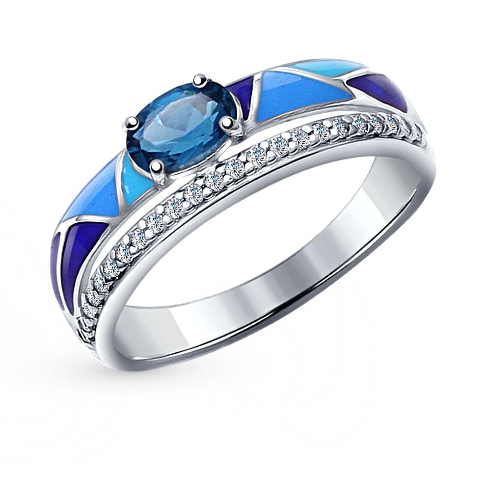Серебряное кольцо с топазами и эмалью SOKOLOV 92011182 в Санкт-Петербурге
