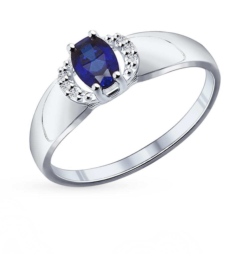 серебряное кольцо с корундом и фианитами SOKOLOV 88010009