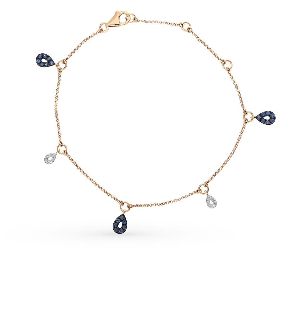 Фото «золото браслет с сапфирами и бриллиантами»