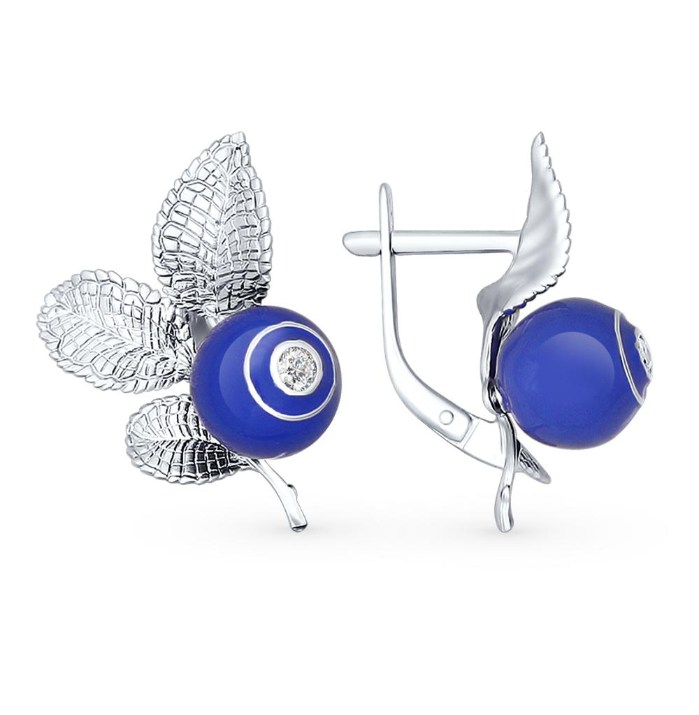 серебряные серьги с фианитами и эмалью SOKOLOV 94022326