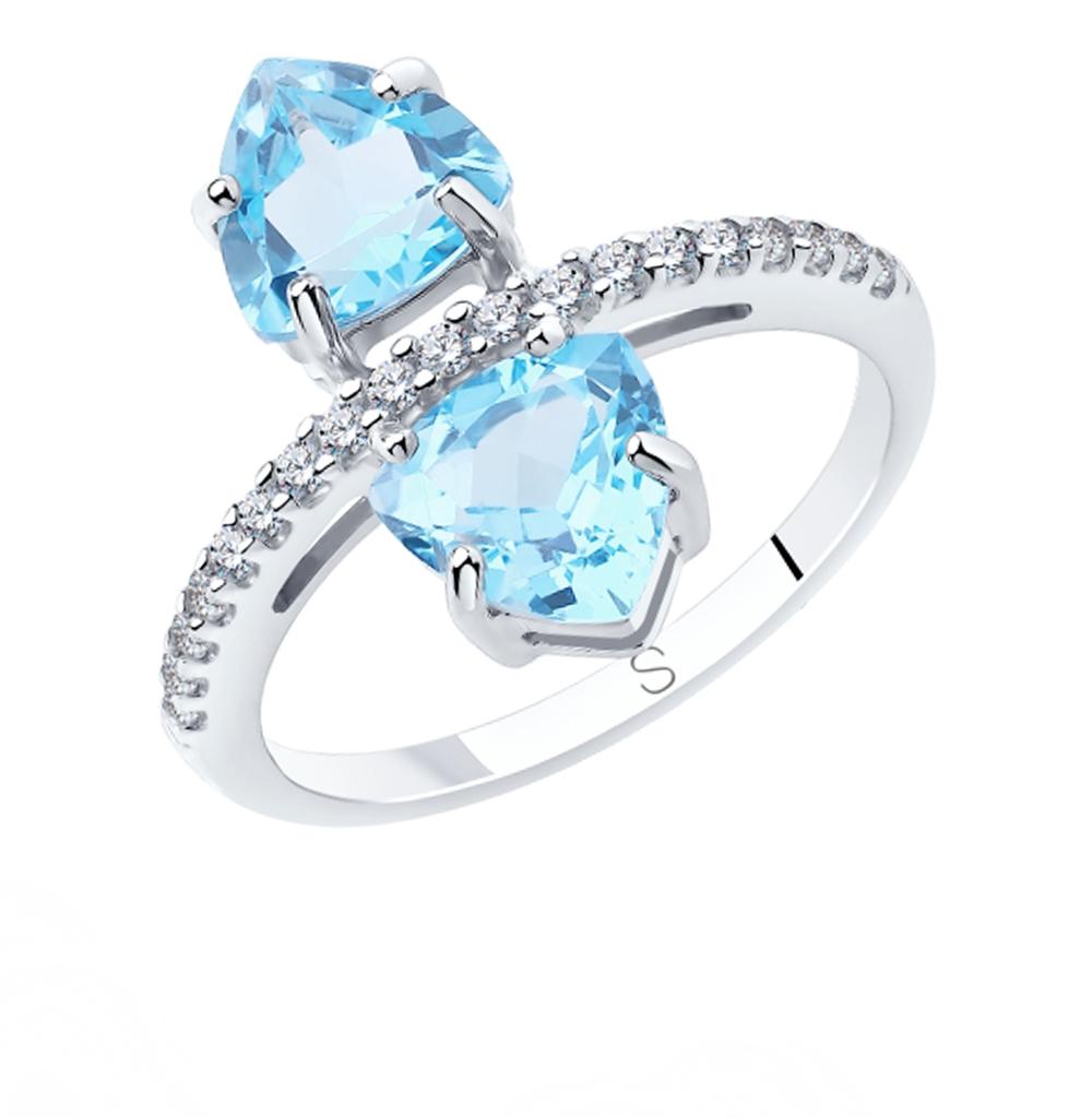 Фото «Серебряное кольцо с топазами и фианитами SOKOLOV 92011887»