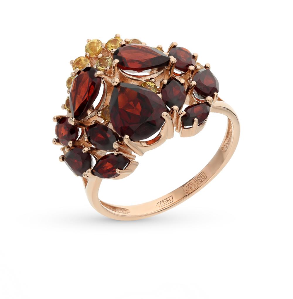 Фото «золотое кольцо с гранатом и сапфирами»