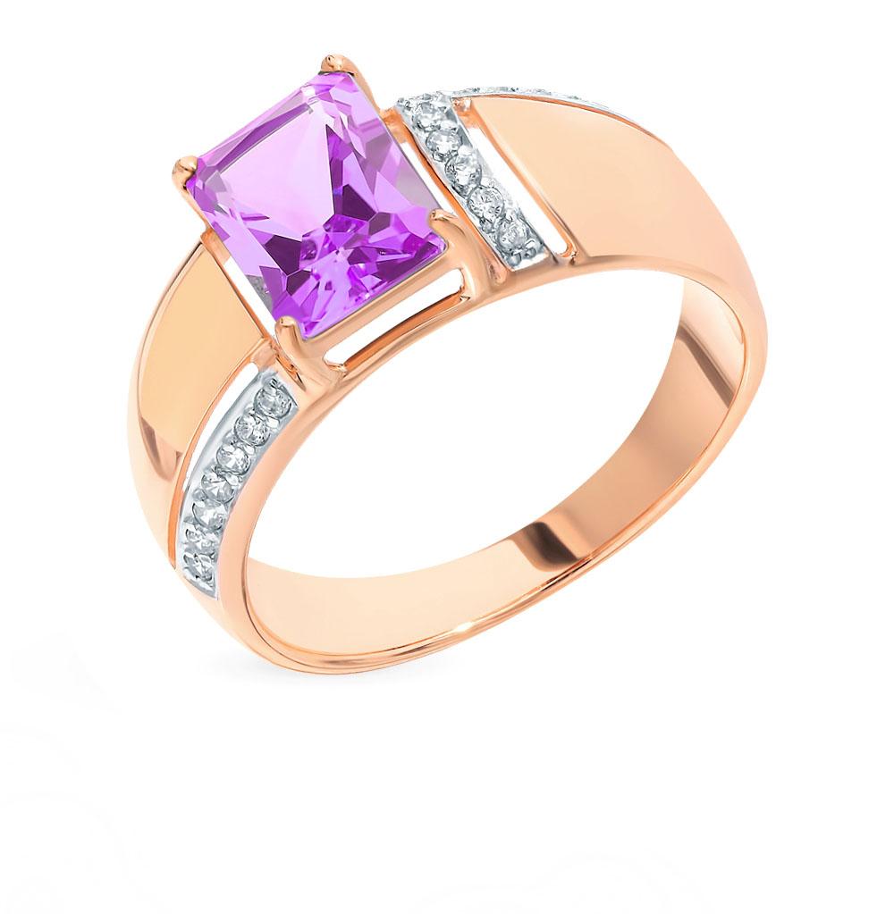 золотое кольцо с аметистом и фианитами SOKOLOV 714858*