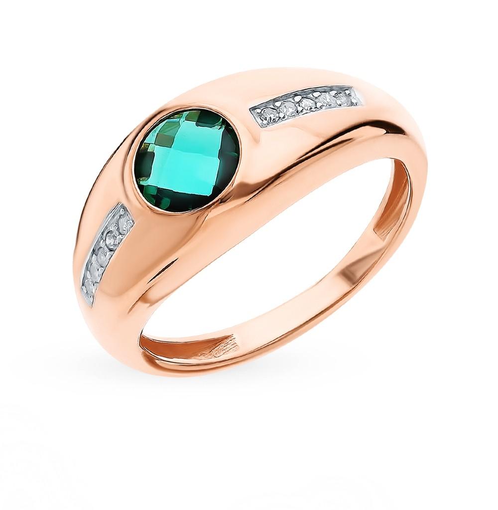Фото «Золотое кольцо с изумрудами гидротермальными и бриллиантами»