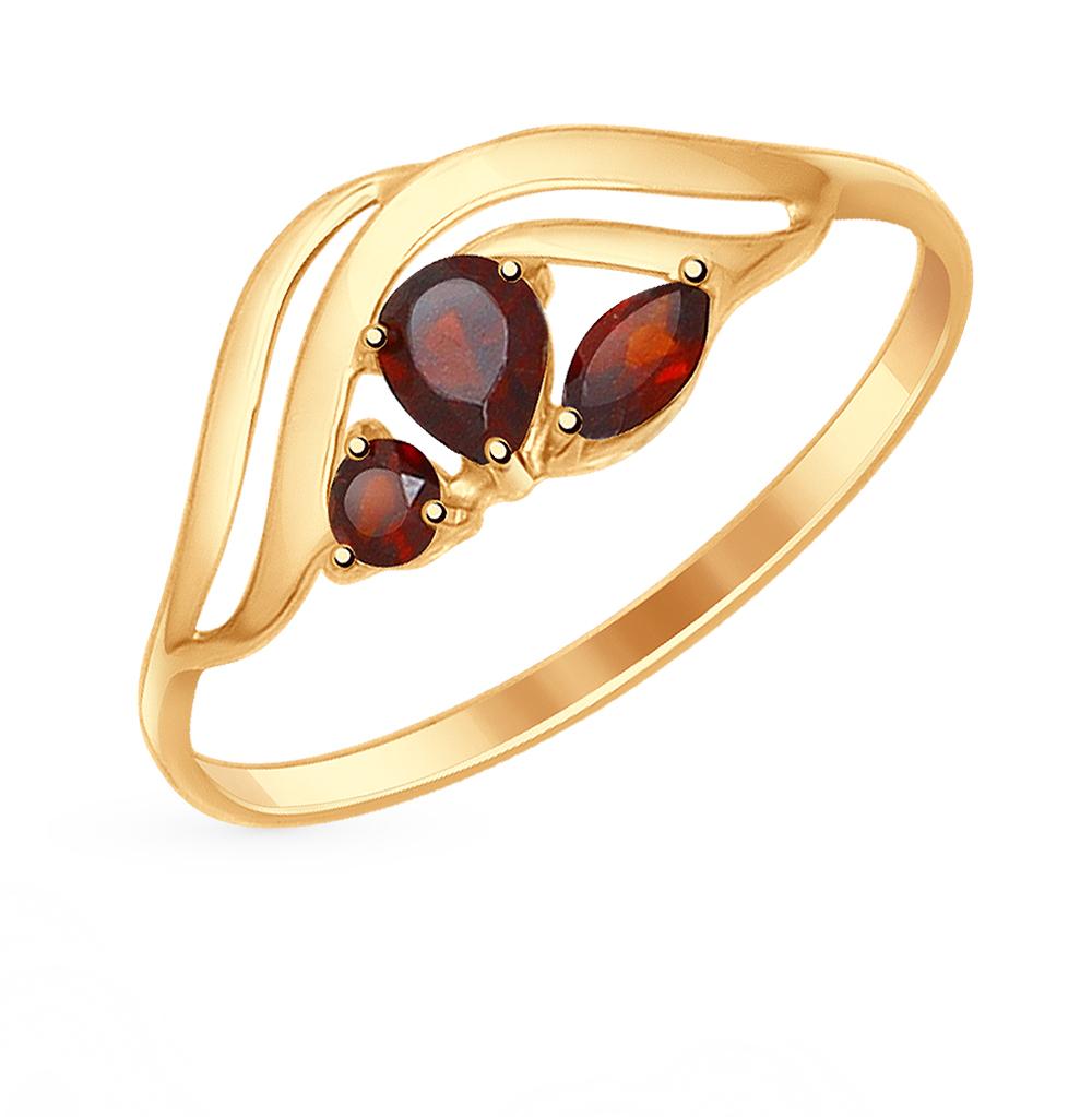 золотое кольцо с гранатом SOKOLOV 714615*