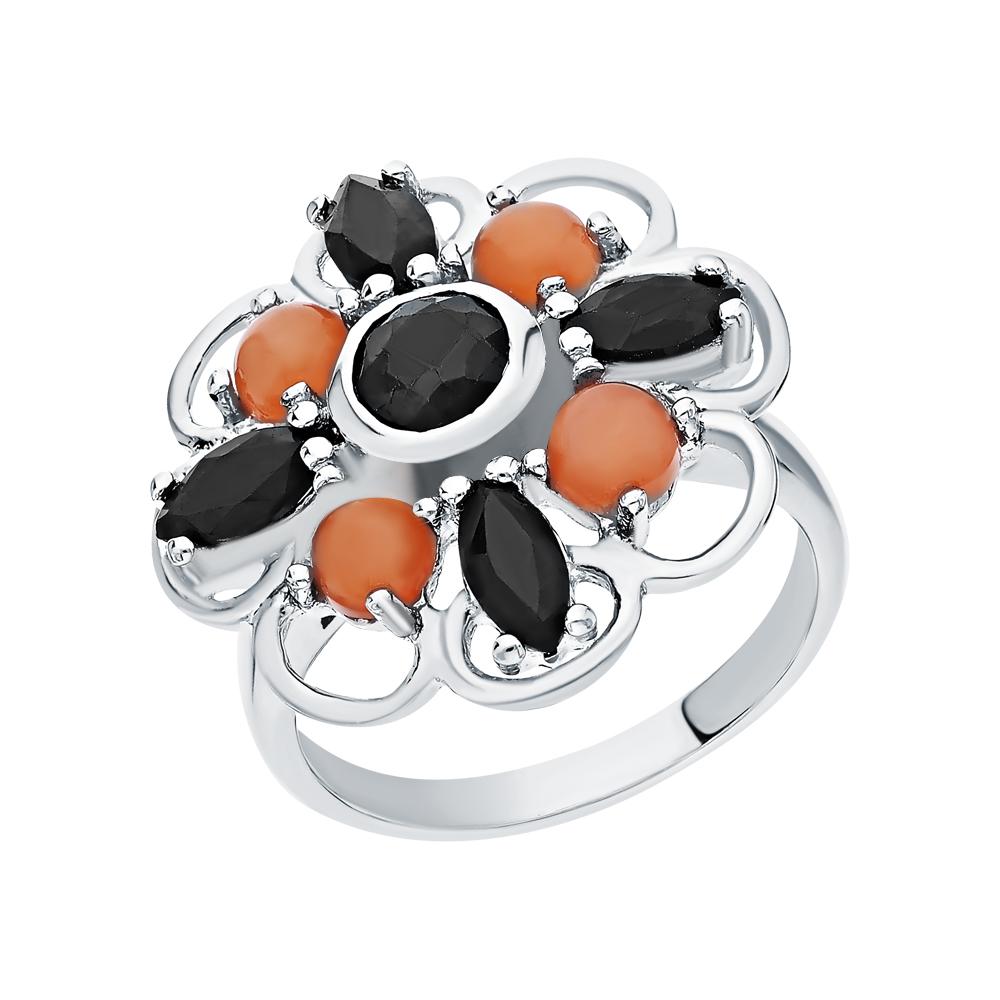 Фото «Серебряное кольцо с сапфирами и халцедонами»