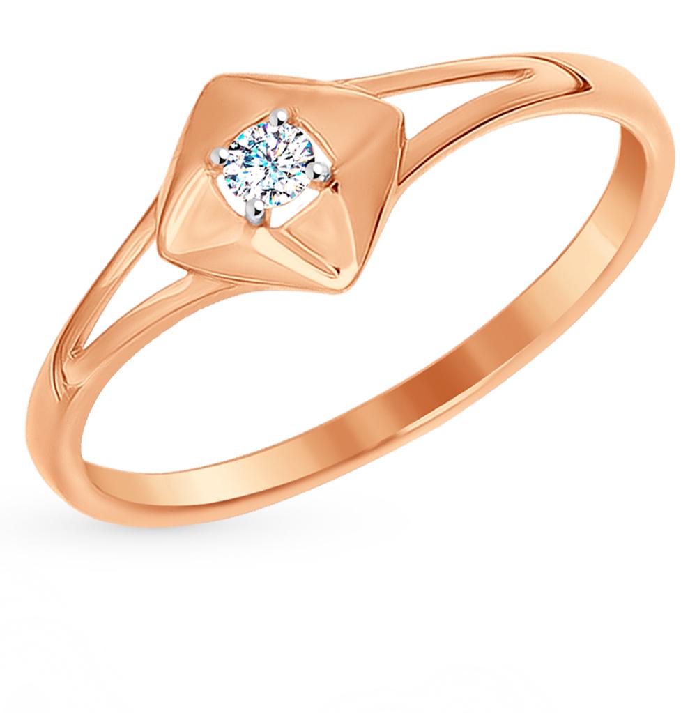 золотое кольцо с фианитами SOKOLOV 016994*