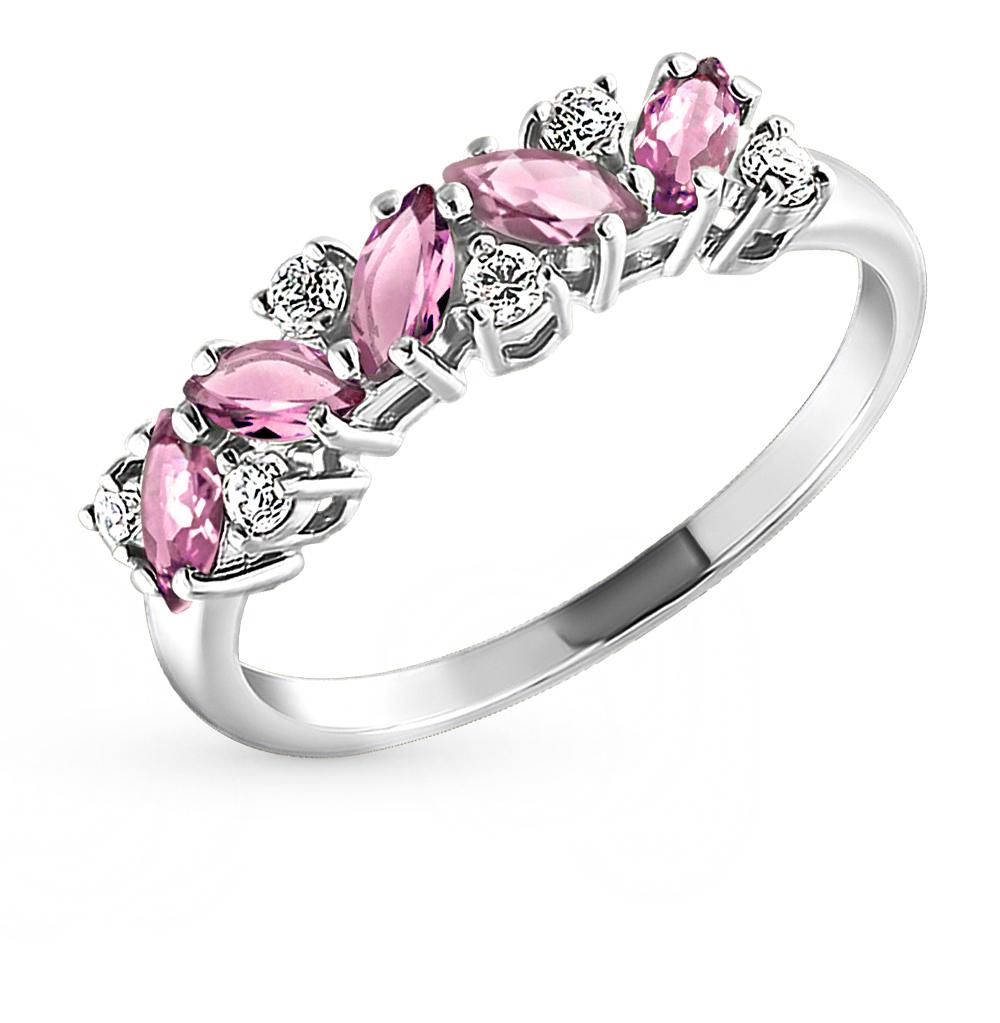 Фото «Серебряное кольцо с аметистом и фианитами SOKOLOV 92010010»