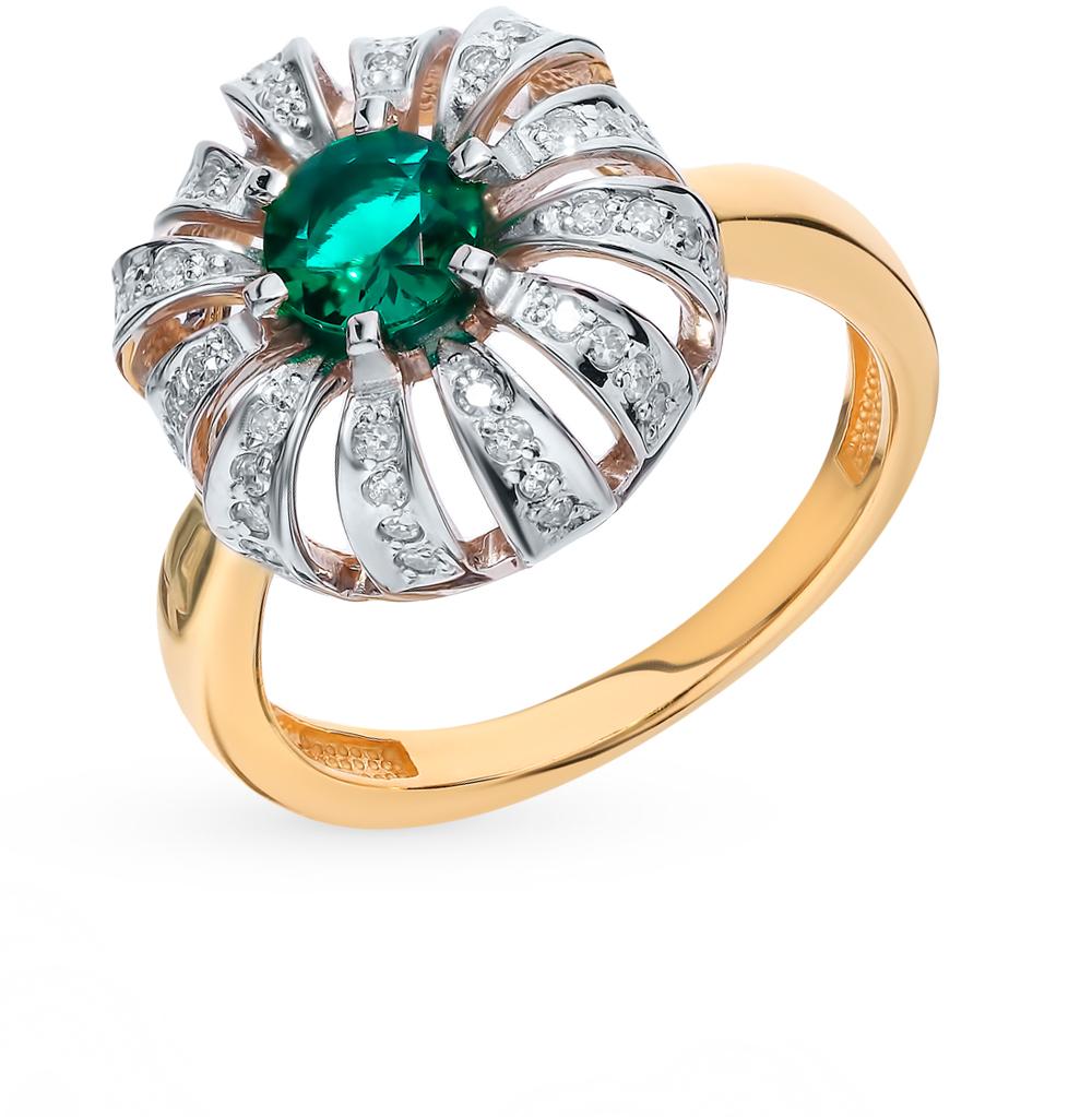 Фото «Золотое кольцо с бриллиантами и изумрудом»
