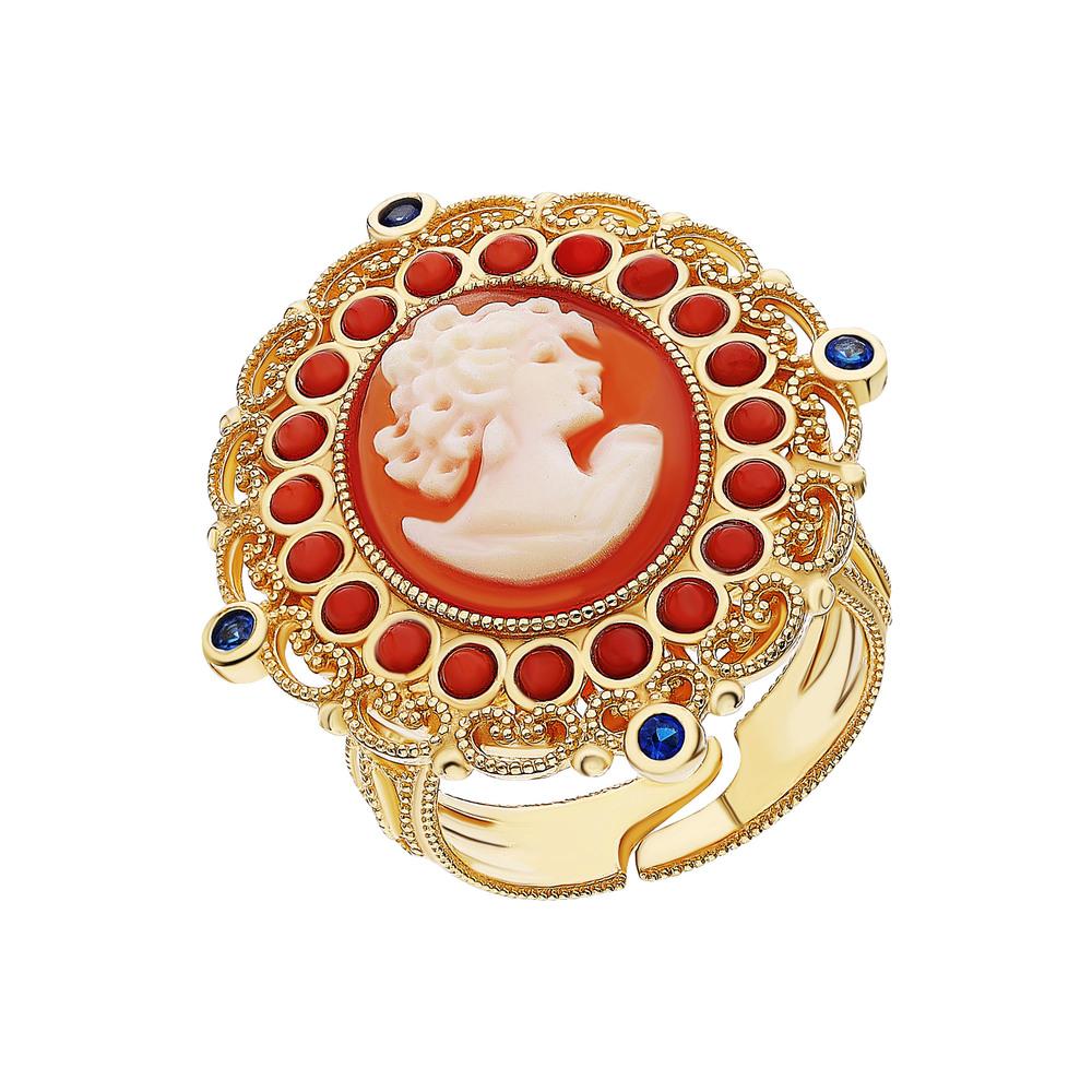 Серебряное кольцо со шпинелью, кораллом и камеями в Екатеринбурге
