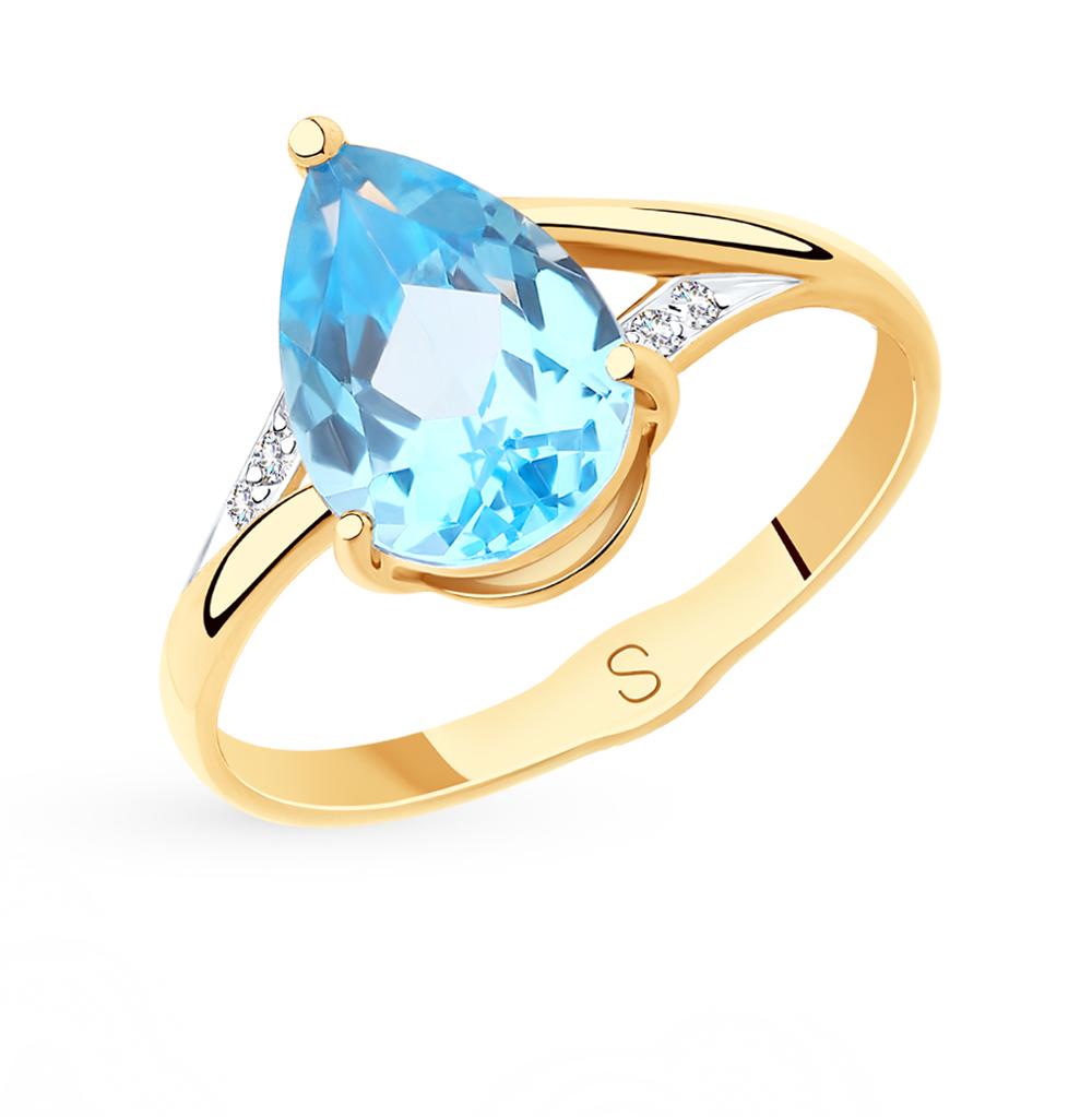 золотое кольцо с топазами и фианитами SOKOLOV 715575*