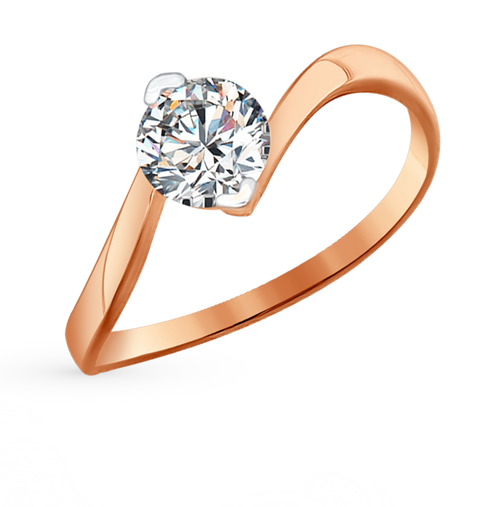 золотое кольцо с фианитами SOKOLOV 81010219*