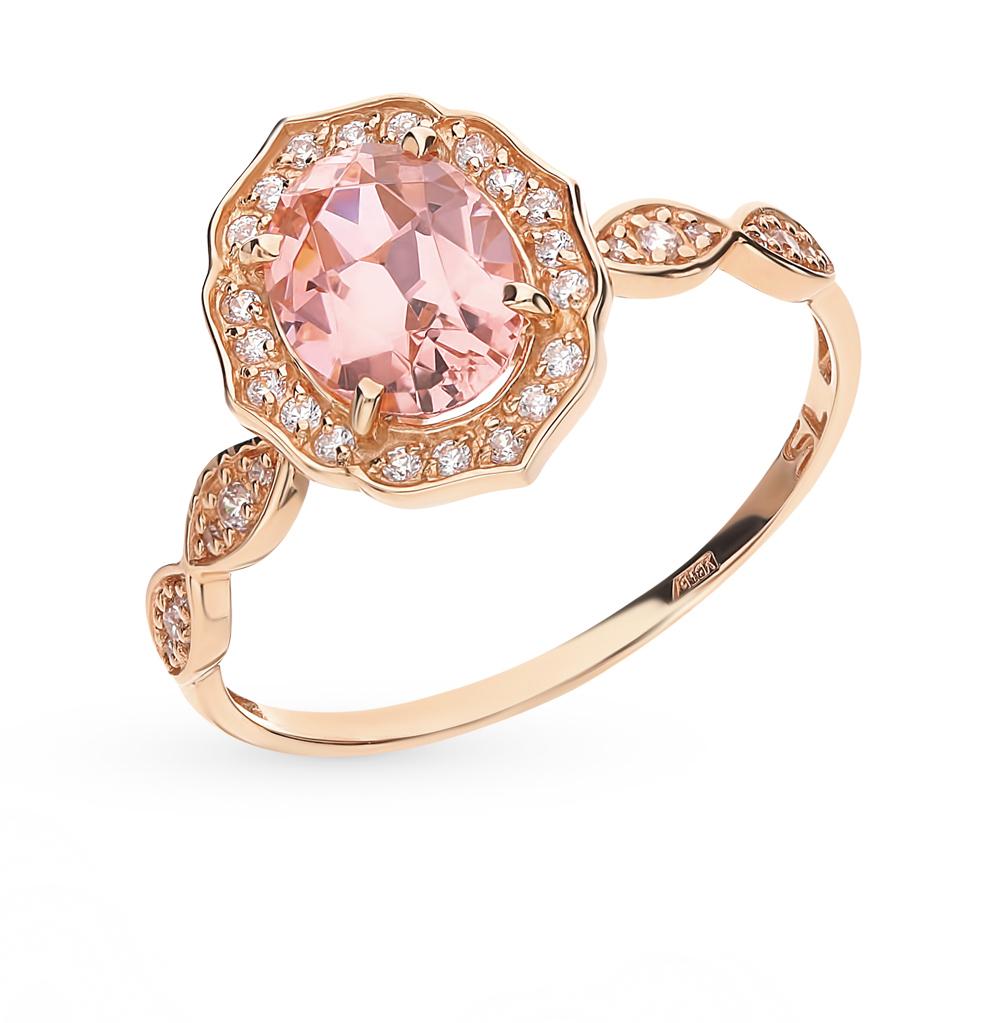 Золотое кольцо с морганитами и фианитами в Санкт-Петербурге