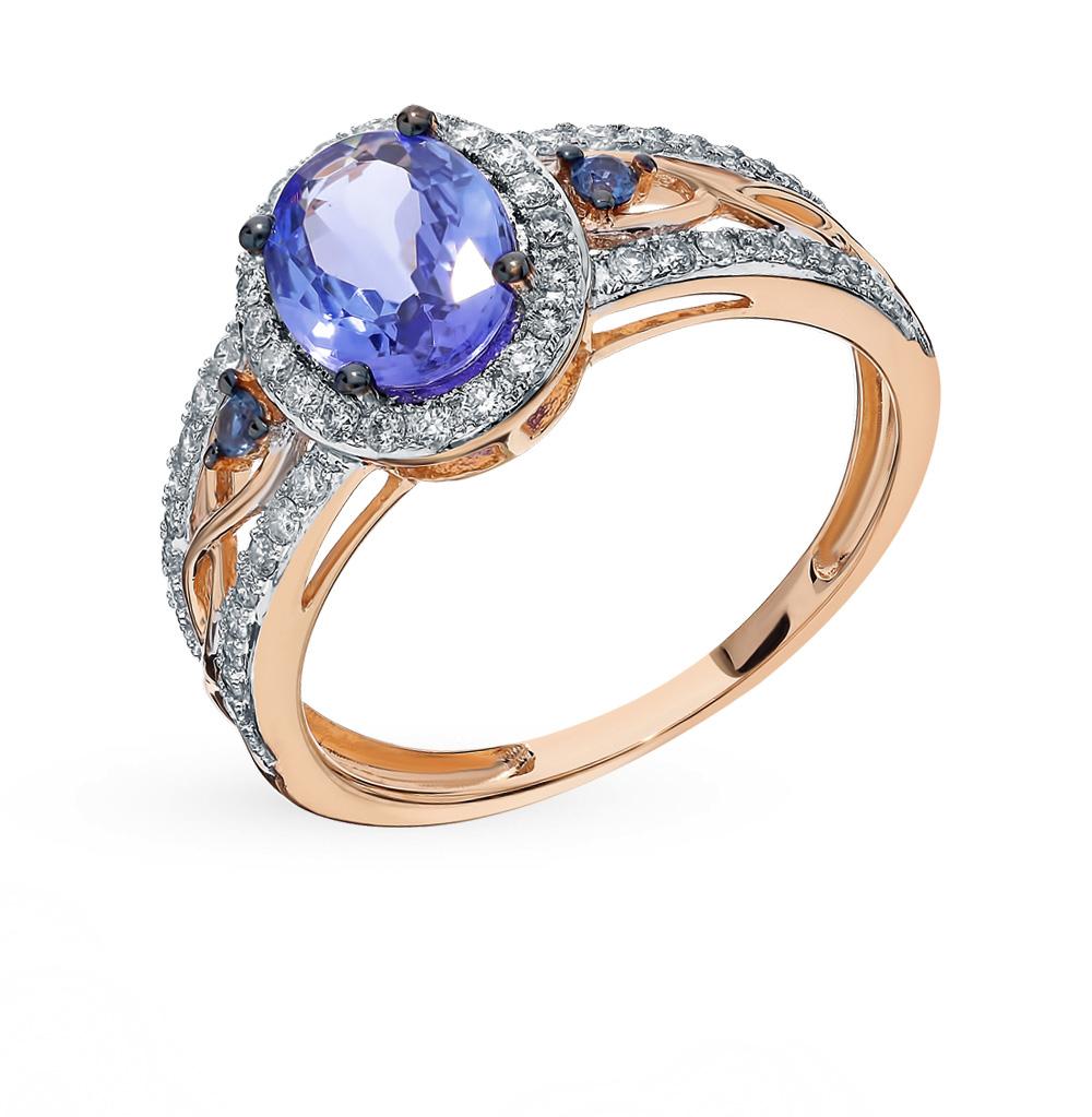 Фото «Золотое кольцо с танзанитом, сапфирами и бриллиантами»