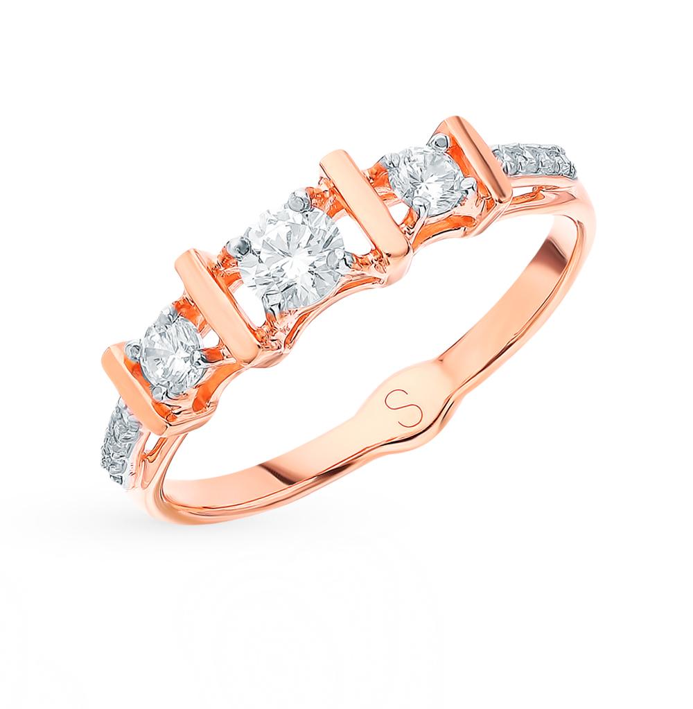 золотое кольцо с фианитами SOKOLOV 018345