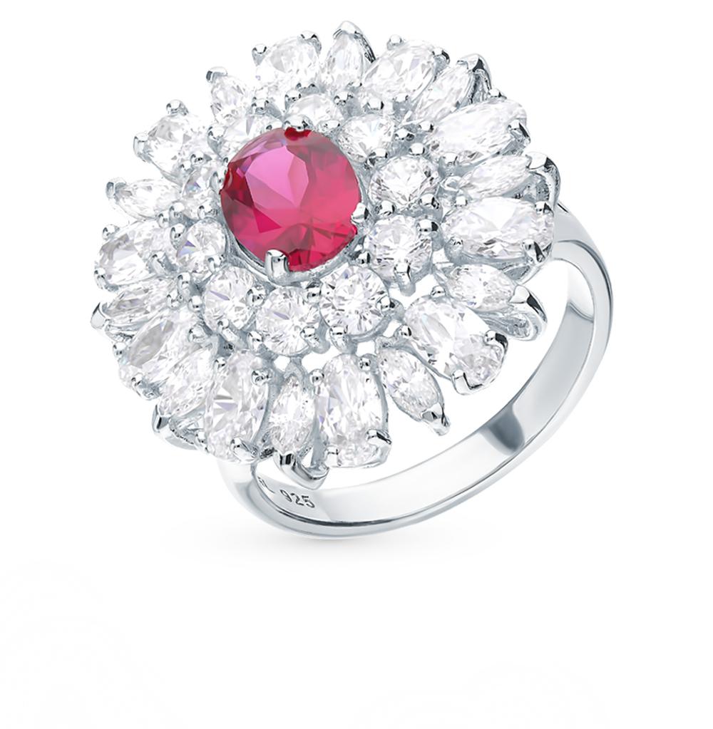 серебряное кольцо с рубинами и фианитами