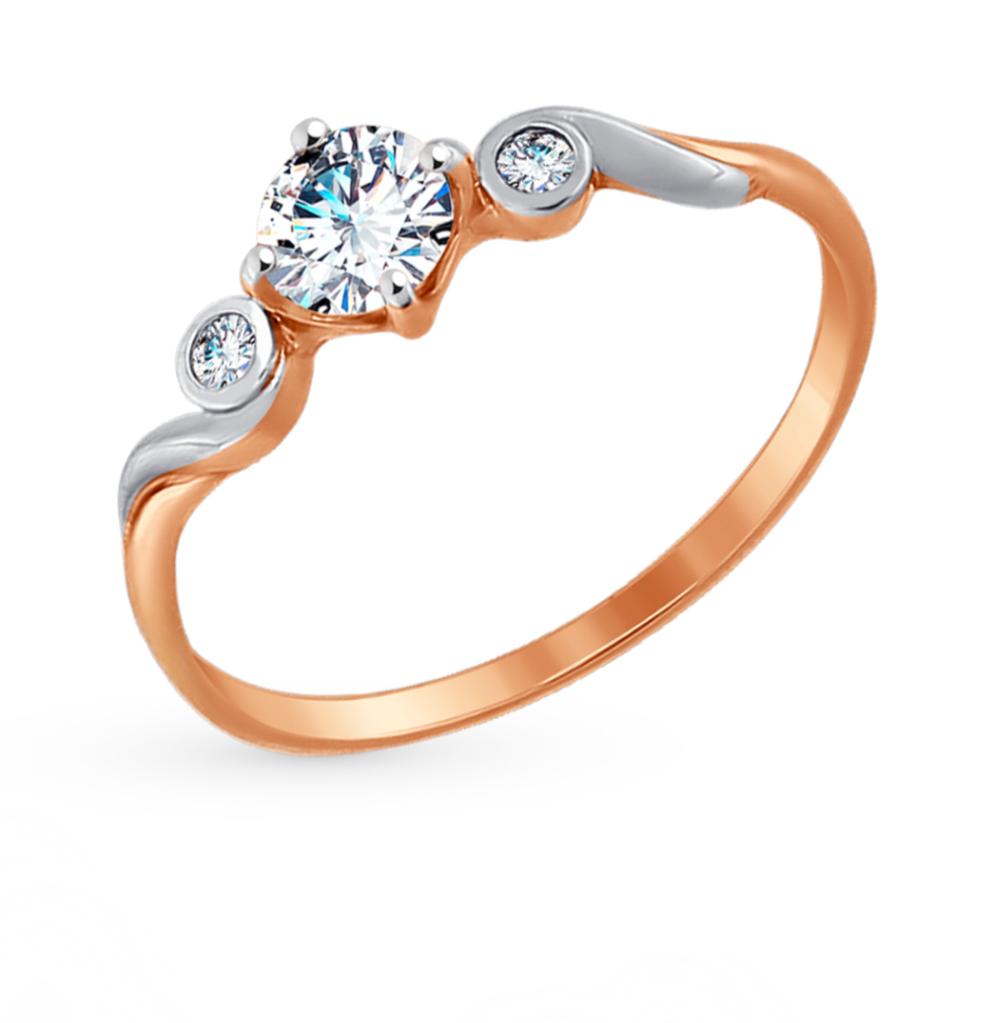золотое кольцо с фианитами SOKOLOV 017435*