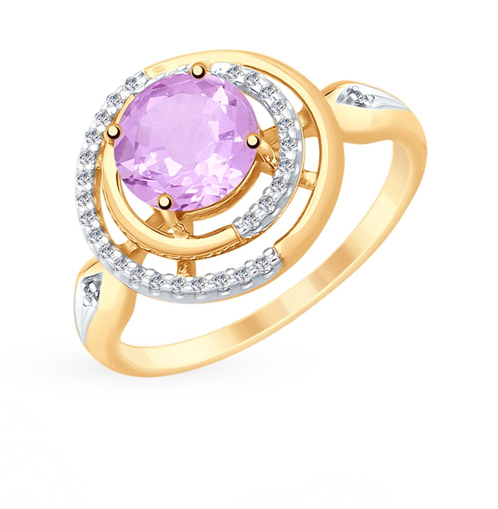 золотое кольцо с аметистом и фианитами SOKOLOV 715344*