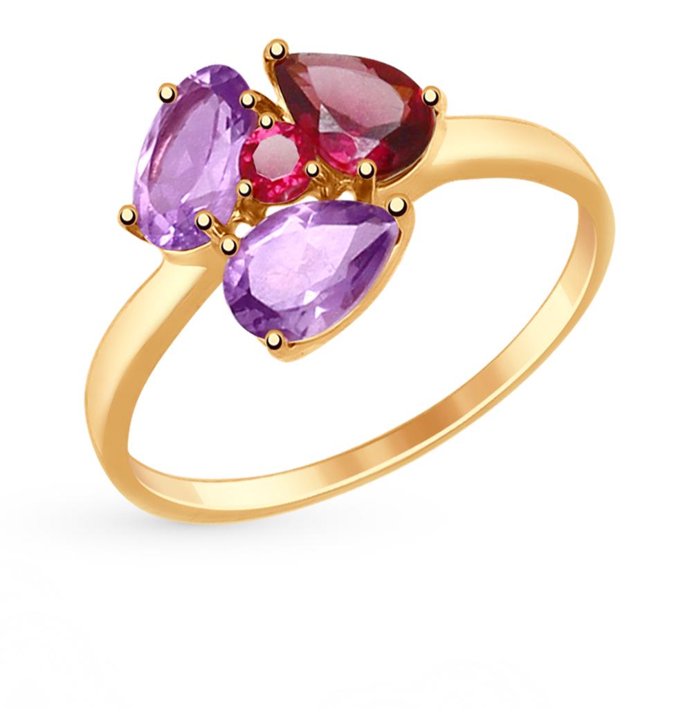 Золотое кольцо с родолитами и аметистом SOKOLOV 714817* в Екатеринбурге