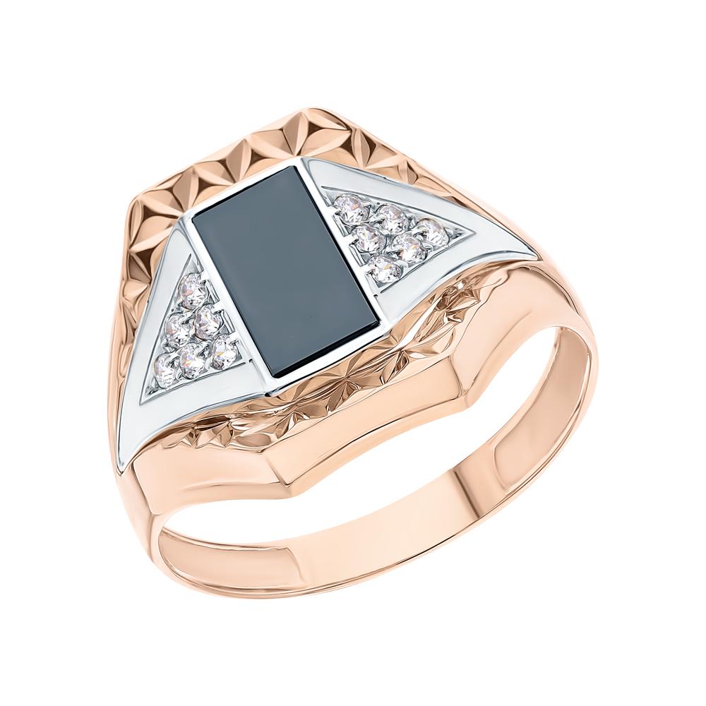 Золотое кольцо с ониксом и кубическими циркониями в Екатеринбурге