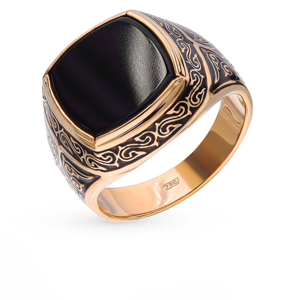 Золотое кольцо с ониксом и эмалью в Санкт-Петербурге