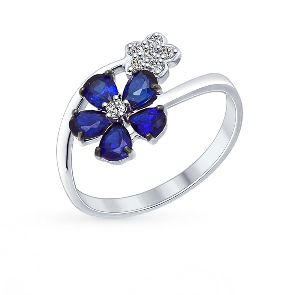 серебряное кольцо с корундом и фианитами SOKOLOV 88010038