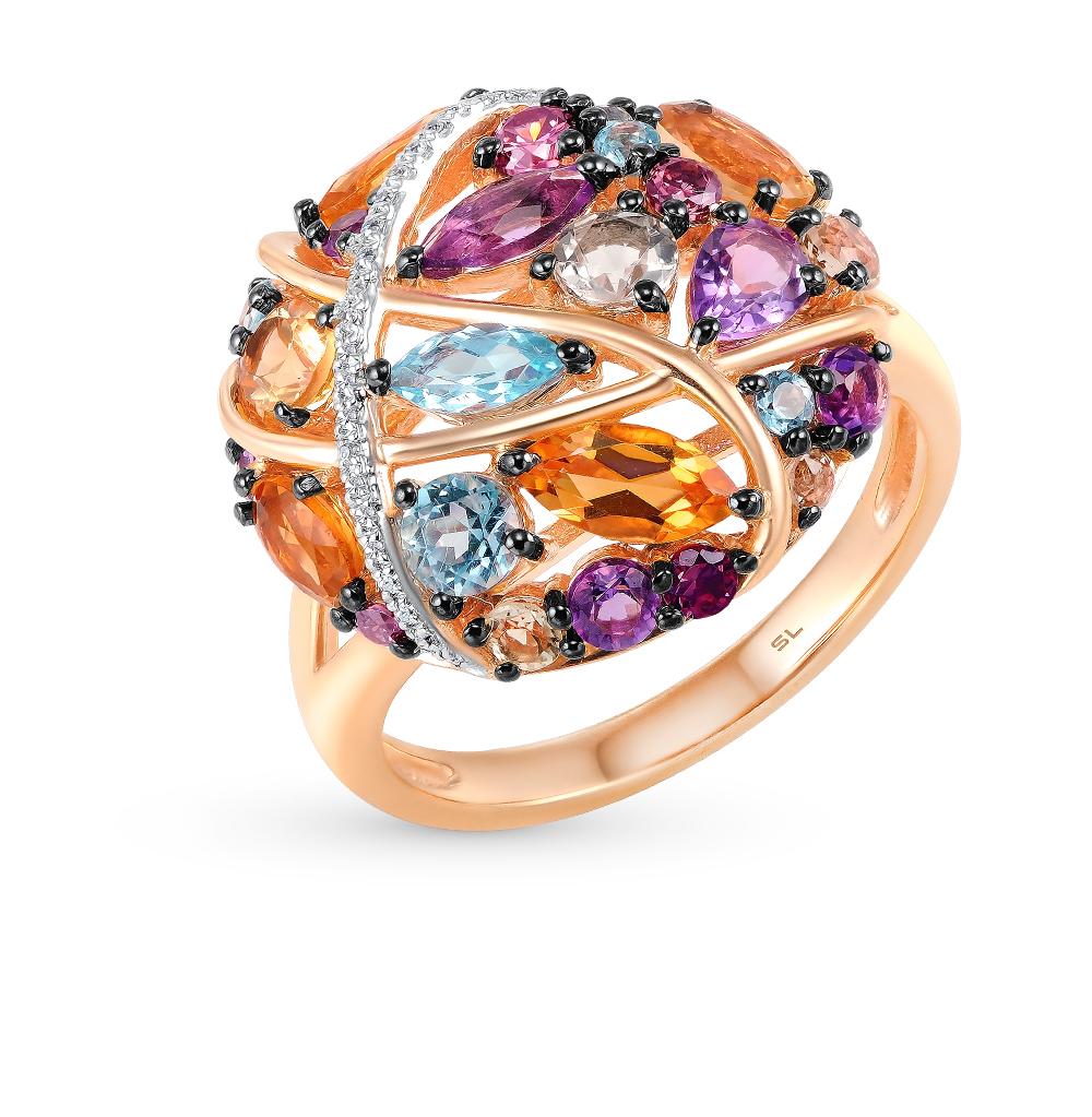 Фото «золотое кольцо с аметистом, гранатом, цитринами, кварцем, топазами и бриллиантами»