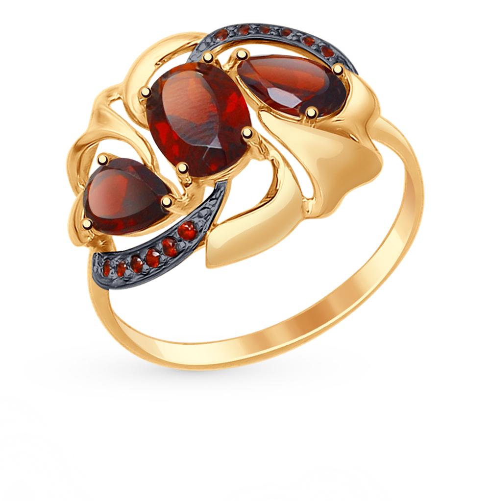 золотое кольцо с фианитами и гранатом SOKOLOV 714768*