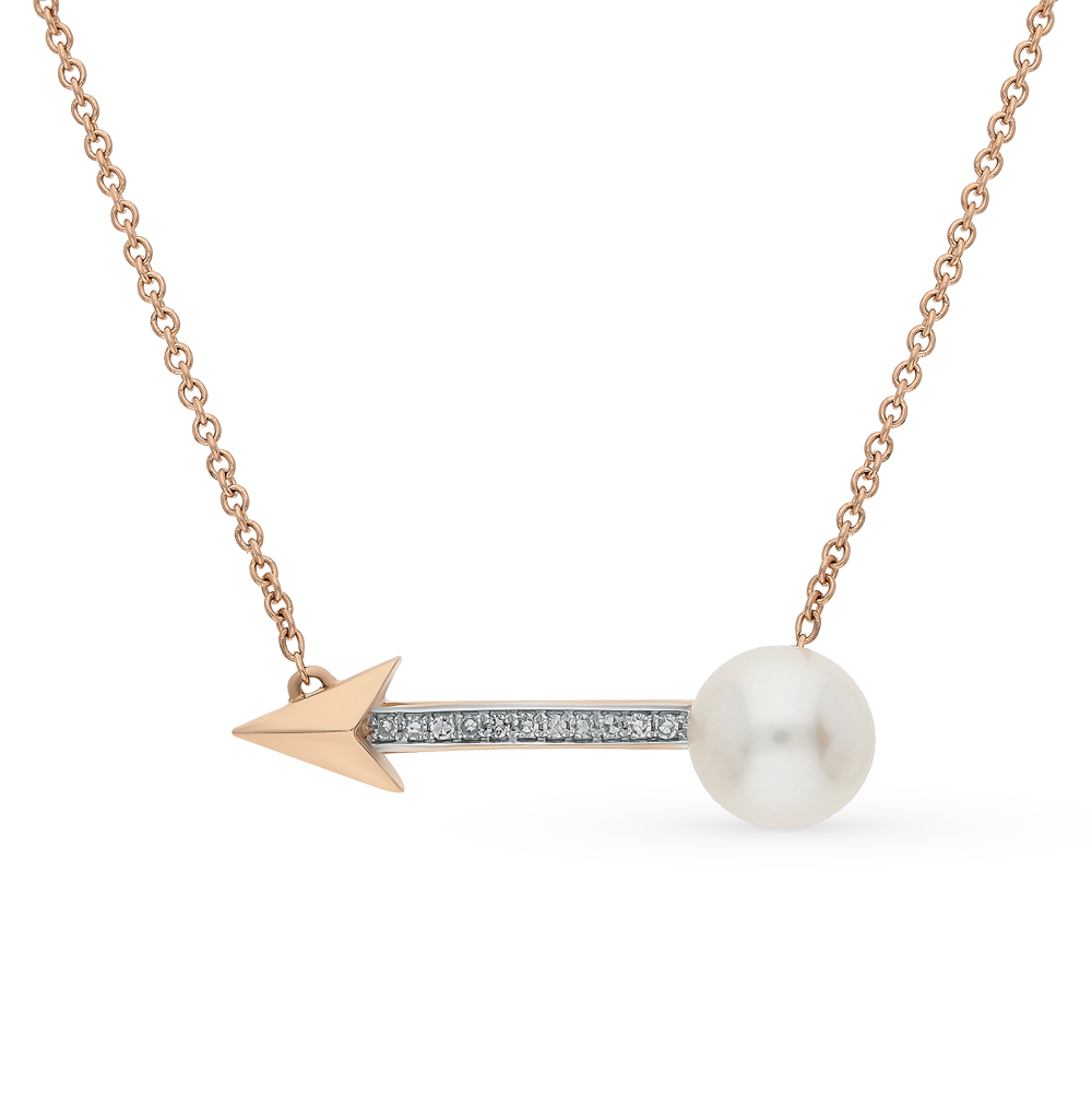 золотое шейное украшение с жемчугом и бриллиантами