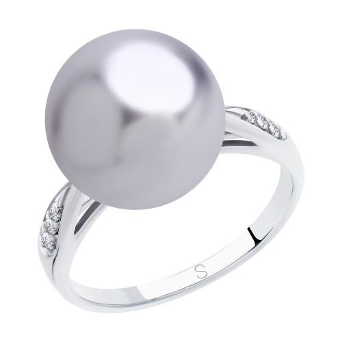 Серебряное кольцо с фианитами и жемчугом SOKOLOV 94012890 в Екатеринбурге