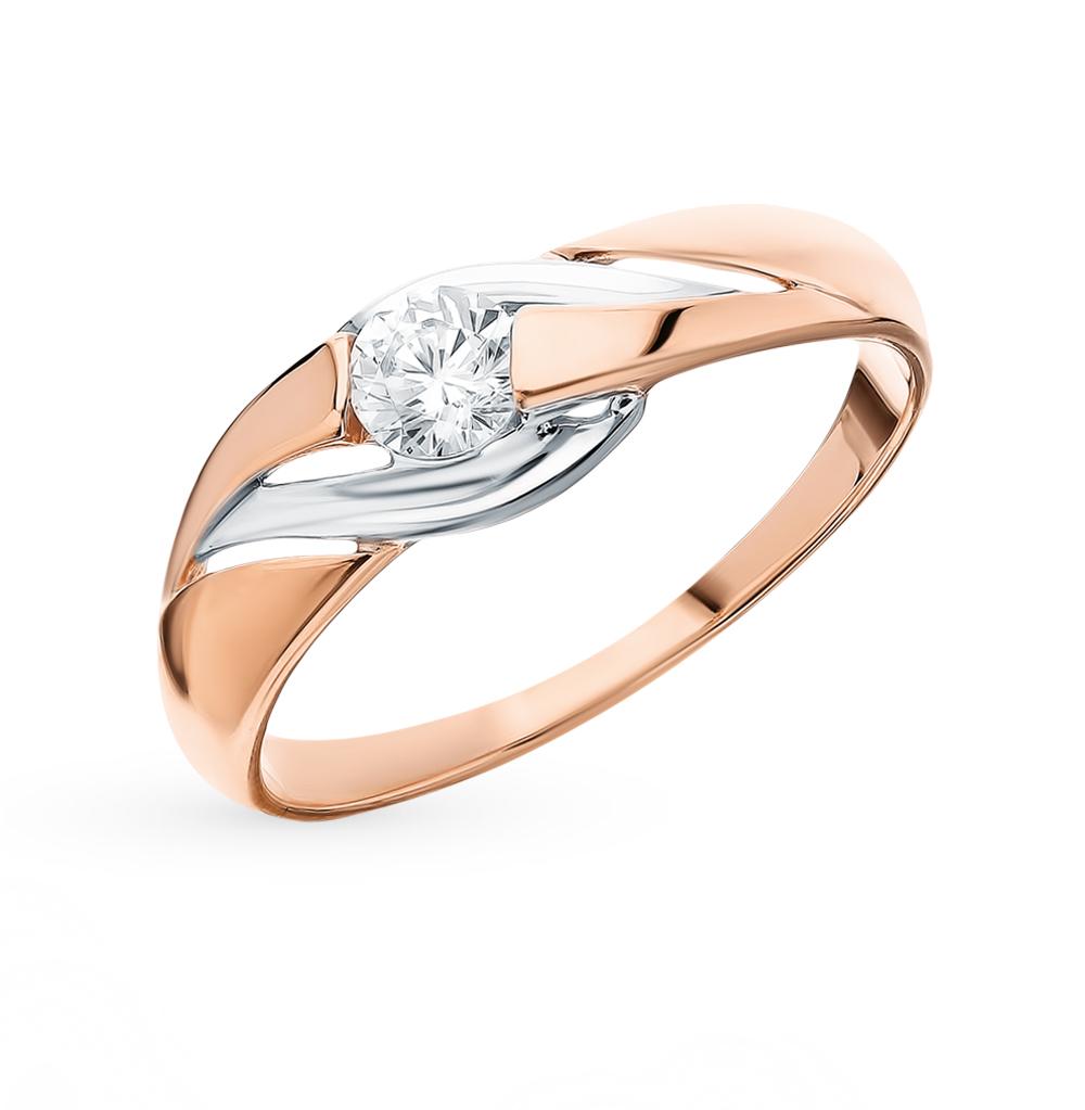 золотое кольцо с фианитами SOKOLOV 018401