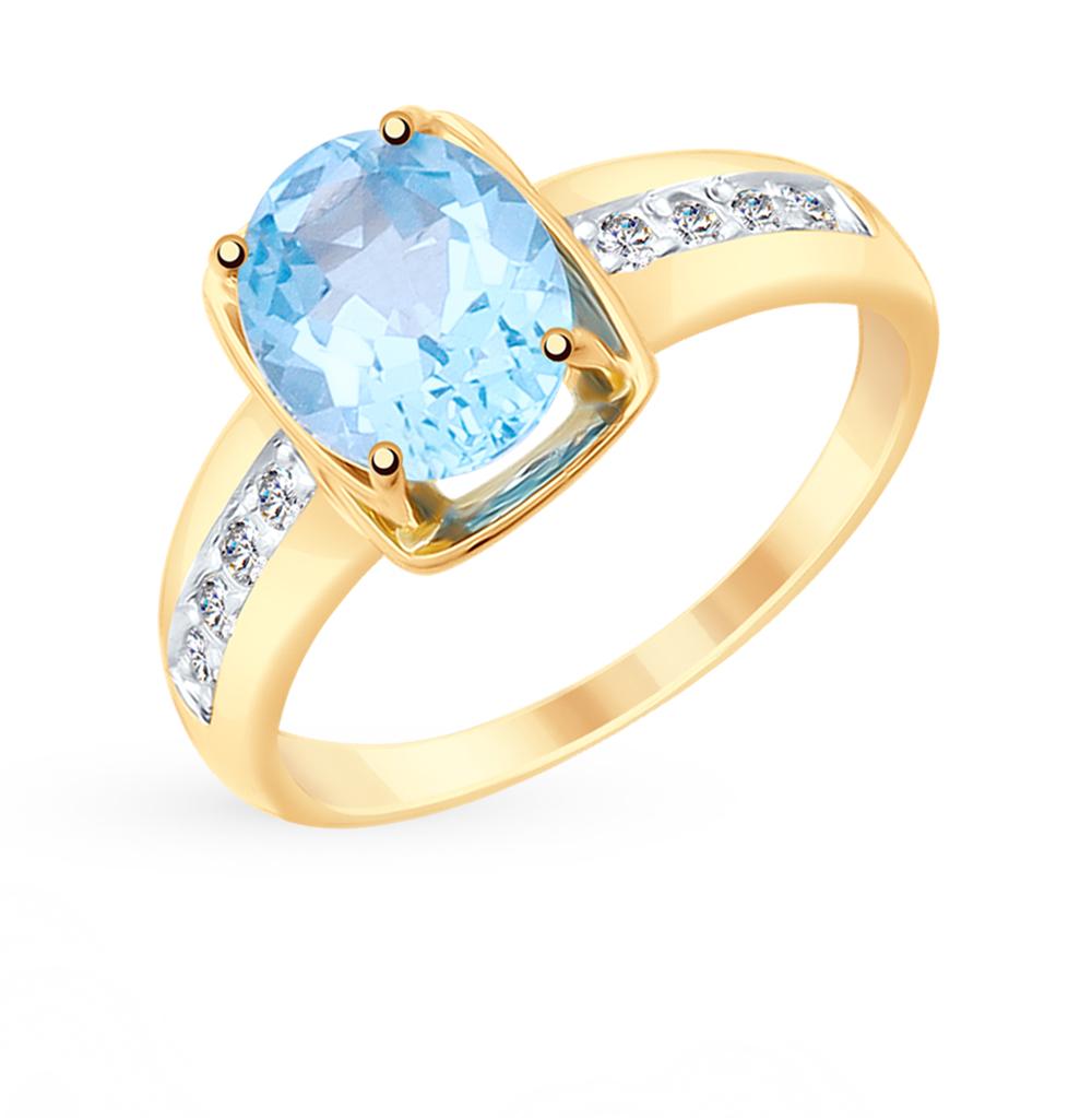 золотое кольцо с топазами и фианитами SOKOLOV 715312*