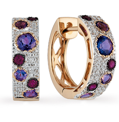 золотые серьги с рубинами, аметистом и бриллиантами
