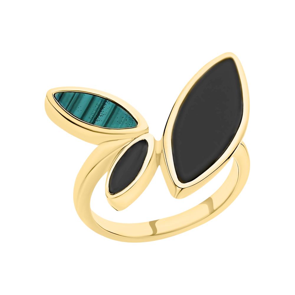 Фото «Серебряное кольцо с ониксом и малахитом»
