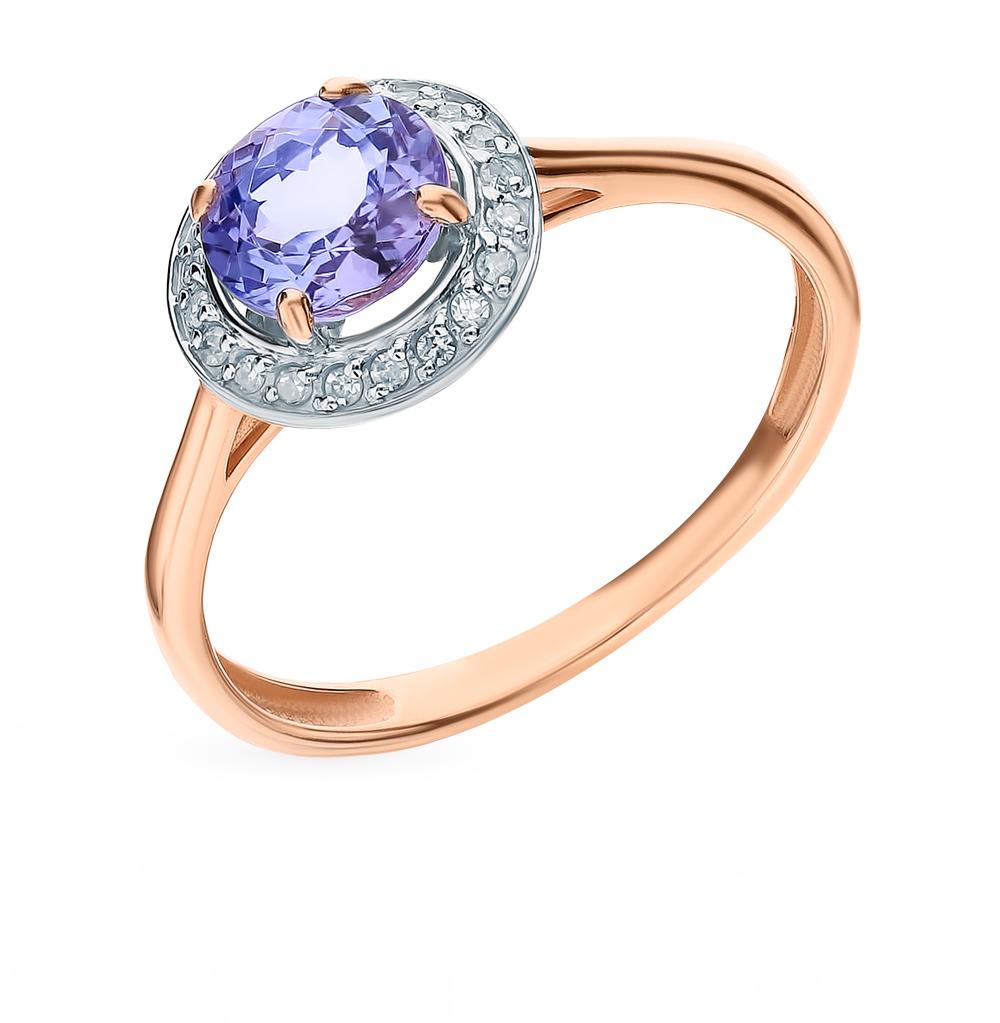 Золотое кольцо с танзанитом и бриллиантами в Екатеринбурге